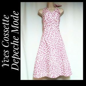 Halter Dress White Pink Geometric Floral Size 10